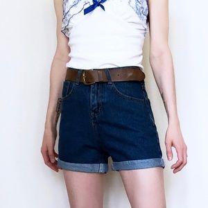 Pants - High Waisted Oversize Cuffed Boyfriend Jean Shorts